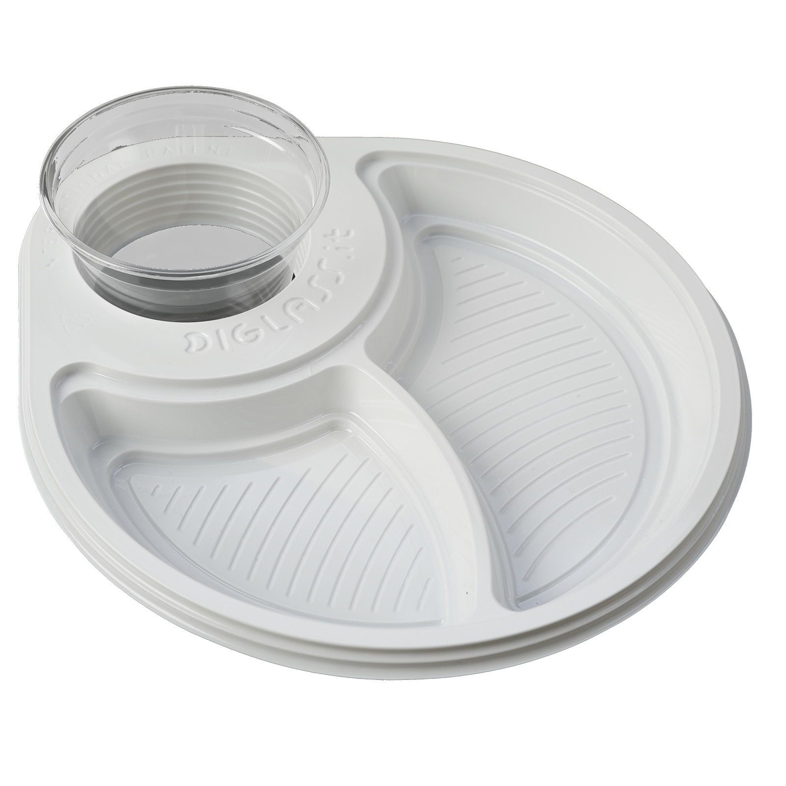 30 piatti deluxe biscomparto bianchi diglass il piatto for Piatti e bicchieri per feste bambini
