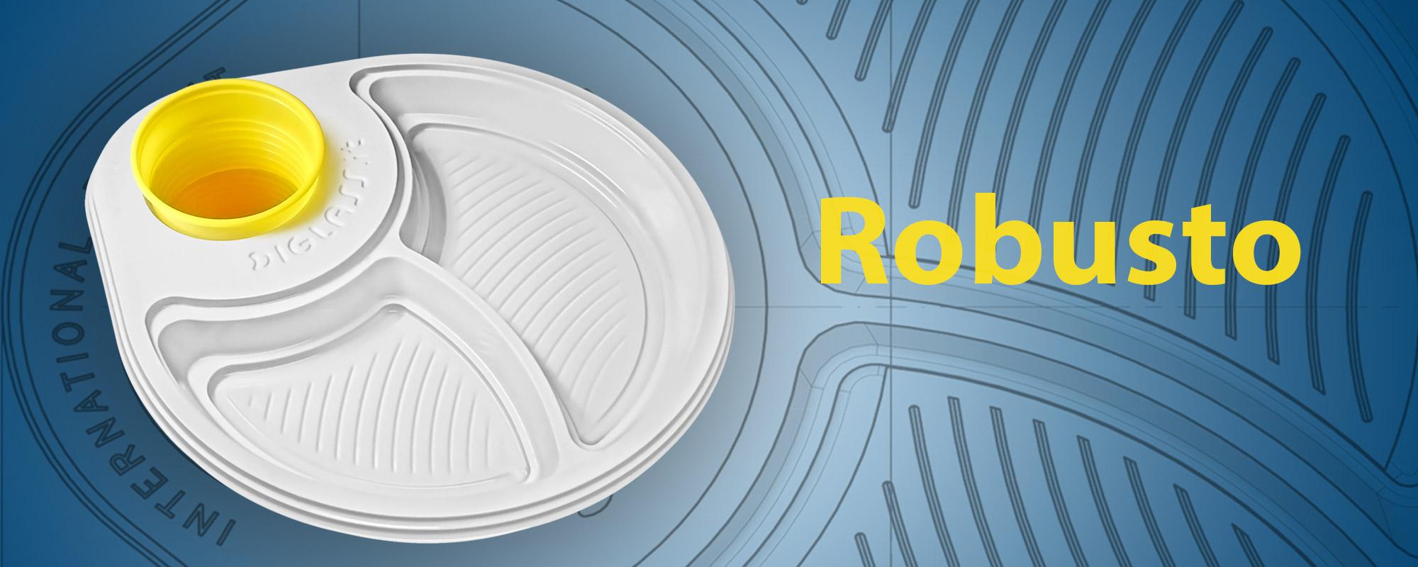 Robusto, la particolare sagomatura del bordo, unita alla plastica usa e getta extra forte  di cui è composto, lo rendono resistente e sicuro per cibi e bevande.