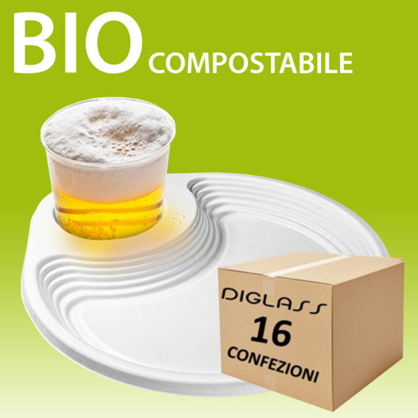 Piatto porta bicchiere 16 confezioni BIO compostabile riciclabile