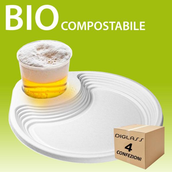 Piatto porta bicchiere 4 confezioni BIO compostabile riciclabile