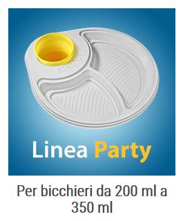 DIGLASS piatti monouso portabicchiere LineaParty