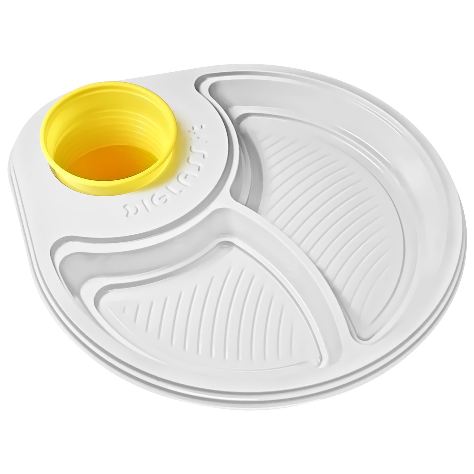 30 piatti party biscomparto bianchi diglass il piatto di - Piatti plastica ikea ...