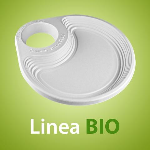 Linea BIO - Il Piattino di plastica usa e getta con Portabicchiere per feste di compleanno e buffet