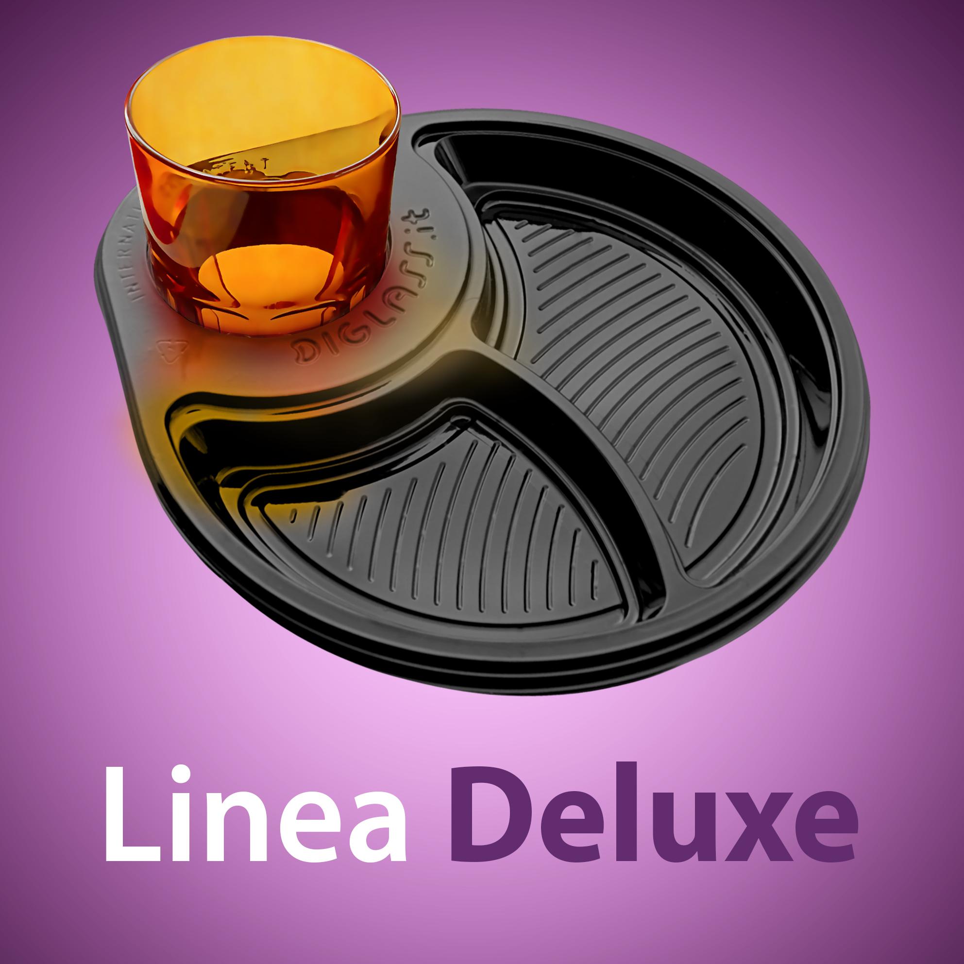 Linea Deluxe - La stoviglia di plastica monouso con Portabicchiere per aperitivi, antipasti, buffet e happy hour