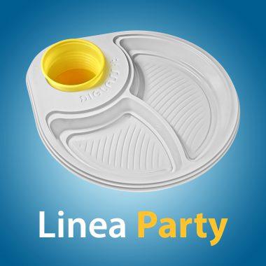 Linea Party - Il Piatto monouso di plastica extra forte con Portabicchiere per feste di compleanno e buffet