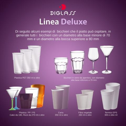 Bicchieri supportati da piatti dalla linea Deluxe