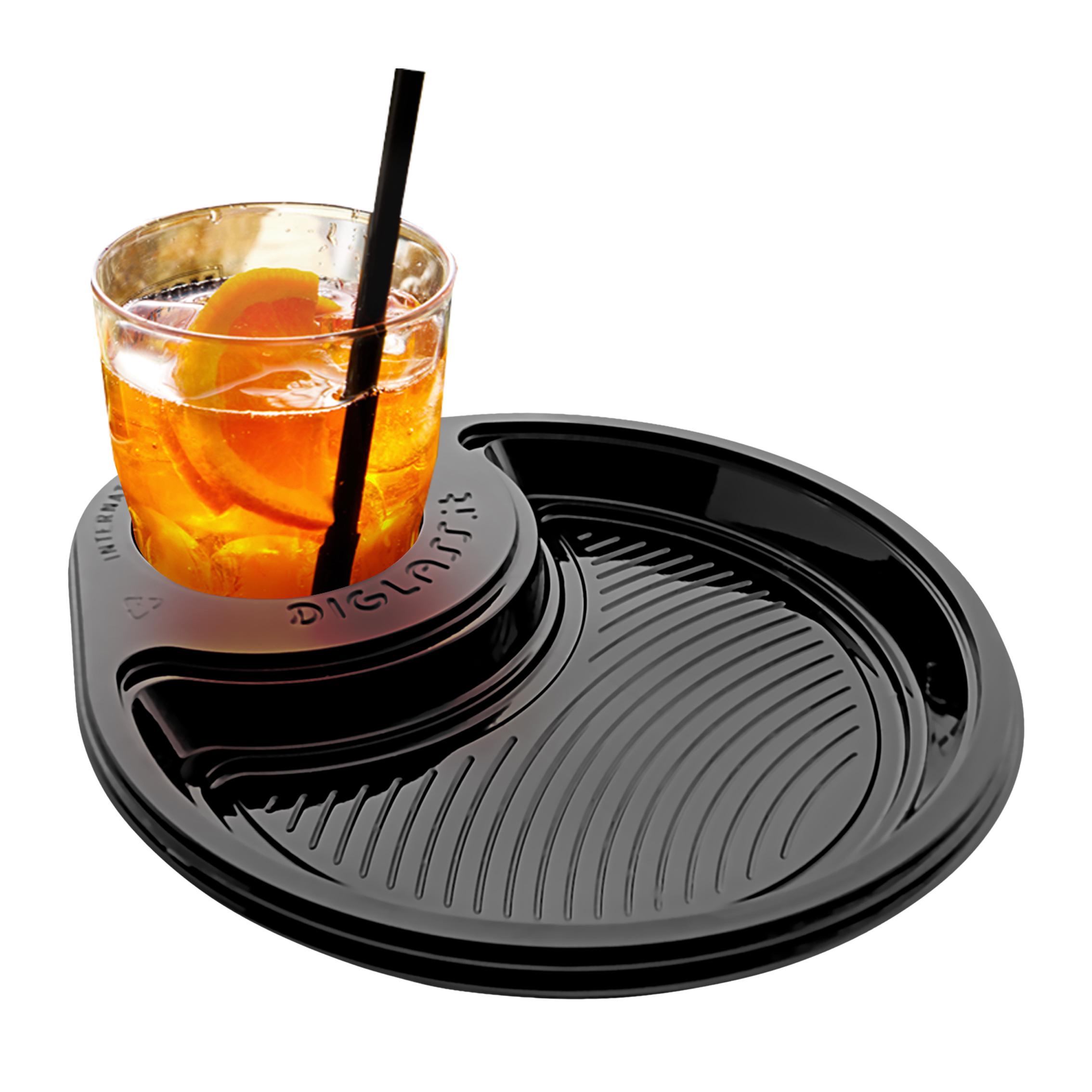 Il Piattino di plastica con Portabicchiere per feste di compleanno e buffet