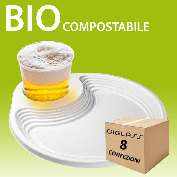 Piatto porta bicchiere 8 confezioni BIO compostabile riciclabile